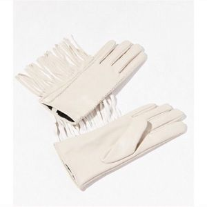 Accessories - Ivory fringed gloves